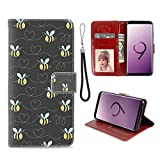 Samsung Galaxy S9 Phone Wallet Case Honeybee Bee TPU Leather Flip Cover with Card Slot Wallet Case for Samsung Galaxy S9