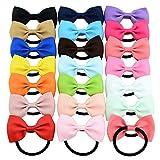 HQdeal Haarschleifen Krawatten für Baby Mädchen Haarbänder 20pcs 20 verschiedene Farben Elastisches Haar Zubehör Haargummi mit schleife für Halloween Weihnachten Haarbänder