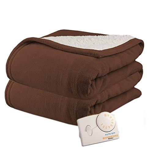 Pure Warmth Microplush Sherpa Twin Heated Electric Blanket Chocolate