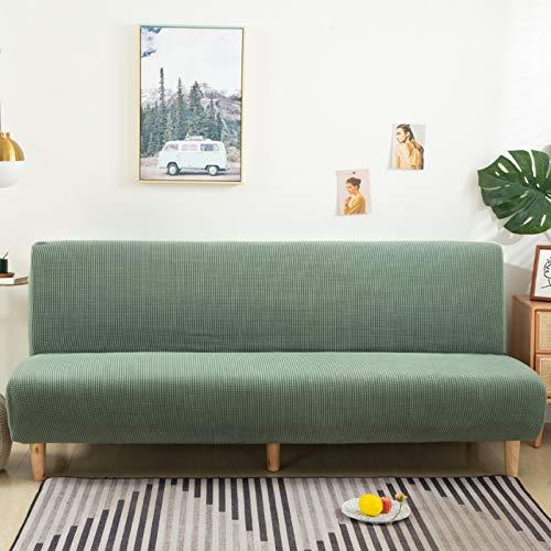 SAFAJINHH Elástica Cubierta De Futón Jacquard Armless,Puro Color Muebles Protector para Niños Mascotas,Anti-resbalón Sofá Sofá con Elástico Parte Inferior-Verde B 160-190cm(62-74inch)