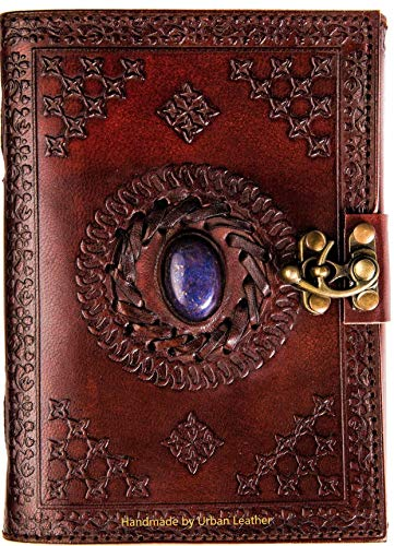 Urban Leather Brown Lapiz Journal - Blue Stone Studded Handmade Vintage Writing Notebook, Unlined