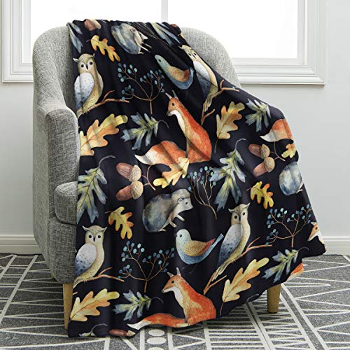 Jekeno Owl Fox Blanket Forest Animals Throw Hedgehog Leaves Berries Acorns Pattern Print Blanket Soft Warm Cozy for Sofa Chair Bed Office Travelling Camping 50'x60'