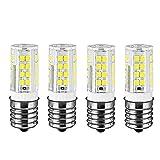 Tento Lighting E17 Intermediate Edison Base, T4 Socket Energy Saving Dimmable Range Hood Light Fixtures LED Bulbs Warm White, 4.5w (2700K)(4/Pack)