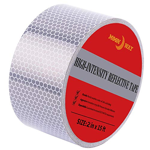 2in x 5yds High-Intensity Reflective Tape for Vehicles Bikes Clothes Helmets Mailboxes,Silver & White
