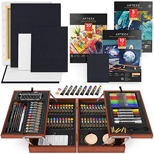 Arteza Professional Art Set Includes Acrylic, Gouache, and Watercolor Paint Set, Glitter Gel Pens, Brushes, Canvases, Watercolor and Canvas Paper, Art Supplies for Professional and Hobby Artists