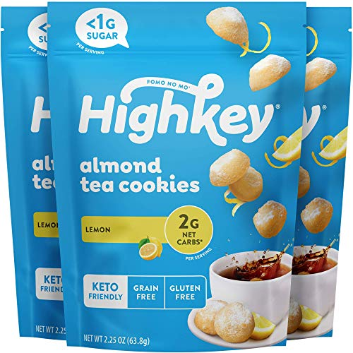 HighKey Keto Cookies & Low Carb Snacks - No Sugar Added Almond Cookie - Grain & Gluten Free Snack - Diabetic Dessert Paleo Sweets Healthy Coffee Biscuits & Non GMO Cake Biscuit - Lemon Tea Cookies
