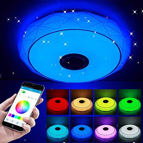 COFEMY Nuevo 2021 Lámpara de techo led regulable, 64W altavoz RGB con Bluetooth, música para dormitorio, con aplicación a distancia, para habitación de los niños, regalo, 185-265v 44.4 x 13.4