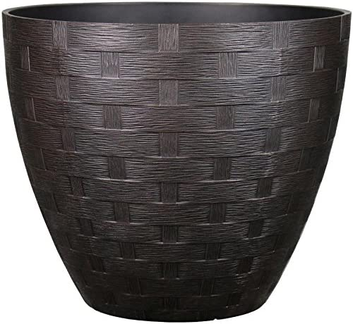 lowest allen + roth 19.02-in W sale x 16.59-in H outlet sale Rust Resin Planter sale