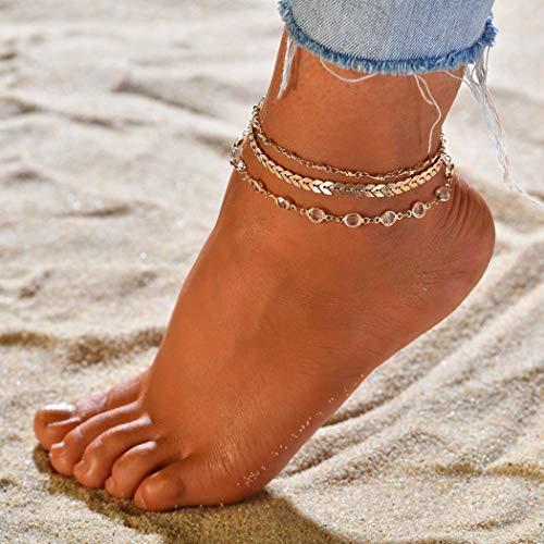 Simsly - Tobilleras de oro con capas de cristal para el tobillo de la playa, accesorios ajustables para mujeres y niñas (3 unidades)