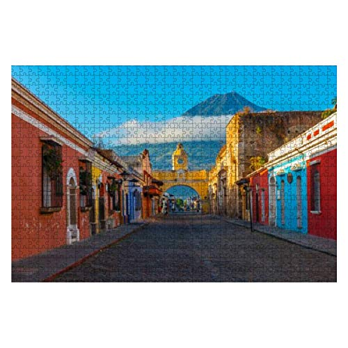 Wooden Puzzle 1000 Pieces Cityscape of Antigua City Guatemala Volcano Stock Pictures Royalty Jigsaw Puzzles for Children or Adults Educational Toys Decompression Game