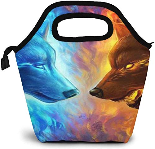 Ice And Fire Art Wolf Bolsa de almuerzo con aislamiento personalizado Bento Box Refrigerador de picnic Bolso portátil Bolsa de almuerzo para mujeres, niñas, hombres, niños