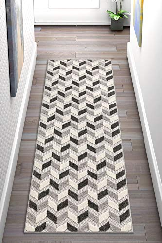 "Well Woven Maui Grey Indoor/Outdoor Chevron Area Rug 2x7 (2'3"" x 7'3"" Runner) High Traffic Stain Resistant Modern Geometric Carpet - Ideal for high-traffic areas, the all-synthetic construction is stain and UV fade resistant, preventing the growth of mold and mildew. Durable yarns stand up to sun, rain, and wear, looking good longer both indoors and out. Oversized chevron stripes pattern. Artificial material is naturally resistant to bacteria and mildew. Easy maintenance, clean with running water. - runner-rugs, entryway-furniture-decor, entryway-laundry-room - 51bcwM5KShL -"