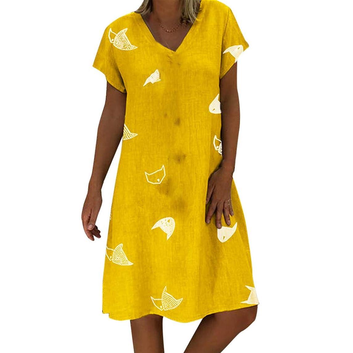 Sagton Tshirt Dresses for Women Print V-Neck Short Sleeve T-Shirt Dress Mini Dress