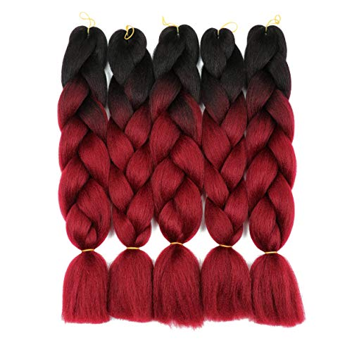 24 Inch 5PCS ombre Burgundy Braiding Hair Kanekalon Hair Synthetic Afro Braiding Hair Extensions 2 Tone for Women(1B-Burgundy)