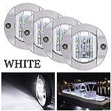 Bkinsety 4 pezzi Luci di navigazione marine luci posteriori rotonde LED 12V luci di segnalazione(Bianca)