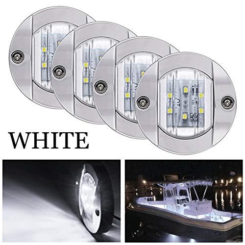 Bkinsety 4 piezas Luces de navegación LED 12V para barcos marinos Impermeables Luces de popa(Blanco)
