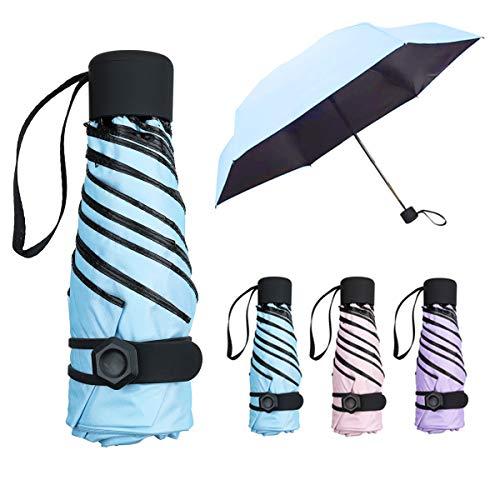 NASUM Regenschirm Mini, Taschenschirm,mehrere Schirmständer stärker,leicht klein und kompakt windsicher. Schirm für Reisen Order Business Geschenk für Freundin Kinder (blau)