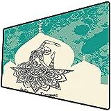 Tappetino per mouse da gioco [600x300 x 3 mm],Chakra Decor, immagine vintage sgangherata con donna danzante generata con stampa etnica ad angolo, Base antiscivolo 45x45cm