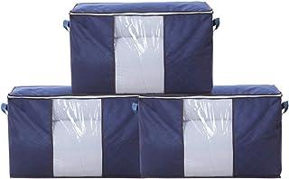 Goklmn Lot de 3 sacs de rangement pour vêtements en tissu épais Bleu marine