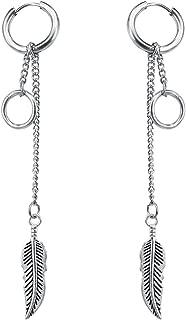 Korean Style Silver Plated Hoop Earrings Feather Circle Long Drop Dangle Earrings for Women Men