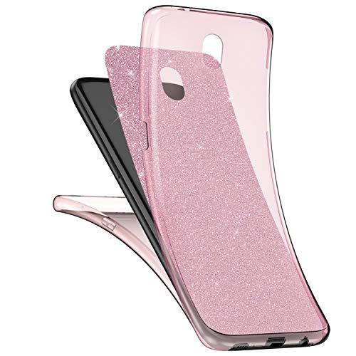 Qjuegad Kompatibel mit Samsung Galaxy J7 2017 Klare Hülle,Ganzkörper-Vorder-und Rückseite Vollständiger Schutz Matte Glitzer Gel-Handytasche,Stoß-und wasserdichte Hülle und Displayschutzfolie,Pink