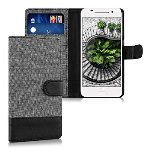 kwmobile HTC One A9 Hülle - Kunstleder Wallet Case für HTC One A9 mit Kartenfächern & Stand - Grau Schwarz