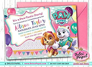 10 Paw Patrol Girl Skye and Everest Pink and Teal Birthday Party Invitations ANY AGE Custom