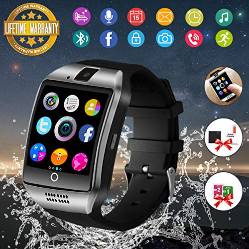 Smart Watch,Bluetooth Smartwatch Touch Screen Wrist Watch with Camera/SIM Card Slot,Waterproof Smart Watch Sports Fitness Tracker Compatible with Android Phones XS XR 8 7 Plus Samsung Huawei