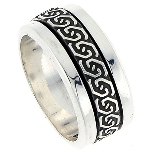 10mm Sterling Silver Mens Spinner Ring Celtic Knot Design Handmade 3/8 inch wide, size 11
