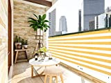 LOVE STORY 3' x 16' Balcony Screen Privacy Fence Cover UV Protection Weather-Resistant 3 FT Height Heavy Duty for Deck, Patio, Backyard Shield 90%, Yellow and White