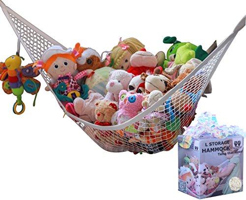 MiniOwls Spielzeug-Hängematte – Plüschtier-Organizer für Schlafzimmerwand, Geschenkidee für Baby Mädchen/Jungen Geburtstag oder Dusche (weiß, groß)