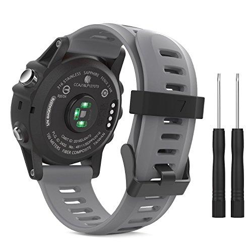 MoKo Pulsera Compatible con Garmin Fenix 3/3 HR/5X/5X Plus/D2 Delta PX/Tactix Bravo/Descent Mk1/Quatix 3, Correa de Silicona Respirable y Reemplazable, Banda de Reloj Deportivo con Cierre - Gris
