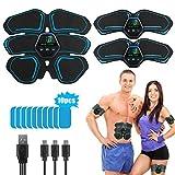 LONSUN Electrostimulateur Musculaire,Ceinture Abdominale Electrostimulation EMS Stimulateur Toner Musculaire pour Hommes Femmes à emporter Appareil de Gym