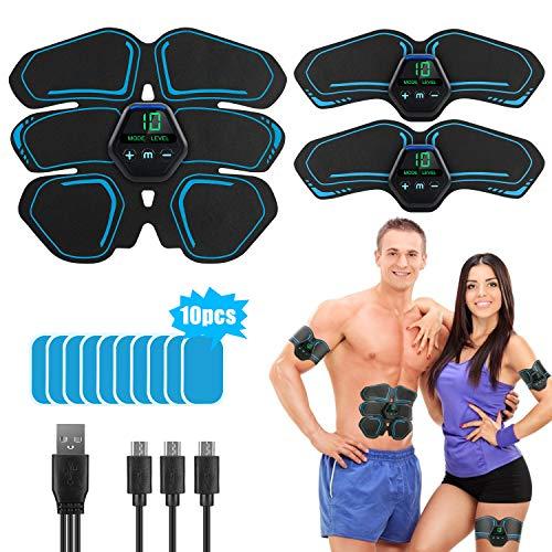 LONSUN EMS Muskelstimulation Elektrostimulation Trainingsgerät, Bauchmuskeltrainer USB-Wiederaufladbarer Tragbarer Muskelstimulator Fitness für Herren Damen (Blue)