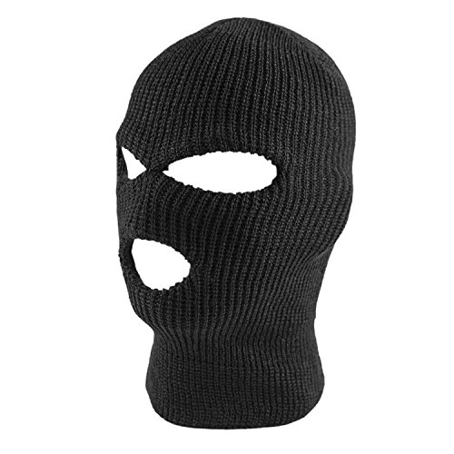 Knit Sew Acrylic Outdoor Full Face Cover Thermal Ski Mask by Super Z Outlet, Black, One Size...