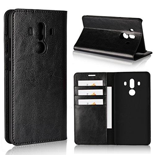 Copmob Huawei Mate 10 Pro Hülle, Handyhülle Premium Slim Schutzhülle Echtleder Hülle Ledertasche mit [Premium Leder] [Kartenfach] [Standfunktion] - Schwarz