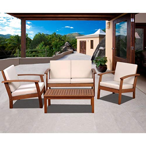 Unknown1 4-Piece Outdoor Conversation Set Eucalyptus Patio Furniture with Off/White Cushions Brown Traditional