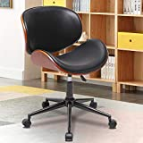 SSLine Mid-Century Armless Office Chair Elegant Bentwood & Leather Swivel Computer Chair Ergonomic Upholstery Rolling Task Chairs on Wheels Adjustable Desk Chair for Home Study Office Small Place