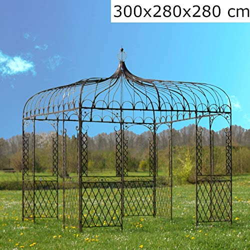 L'ORIGINALE DECO Grande Tonnelle Carrée Fer Jardin Grande Gloriette Pergola Fer Jardin 280 cm x 280 cm x 300 cm