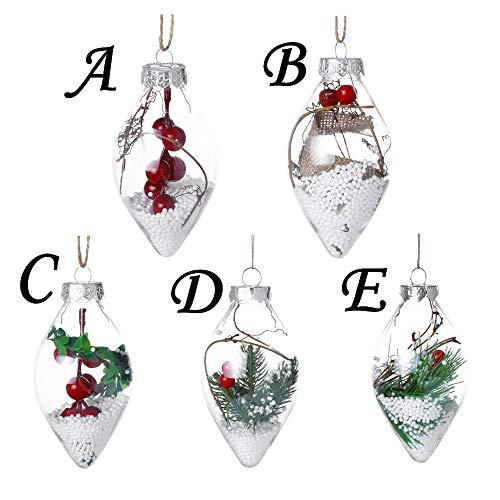 ZYUEER Lot de 5 Boules de Noël Transparente à Remplir Boules de Décoration en Plastique pour Arbre de Noël Sapin Fête Anniversaire Mariage Ornements (Multicolore)