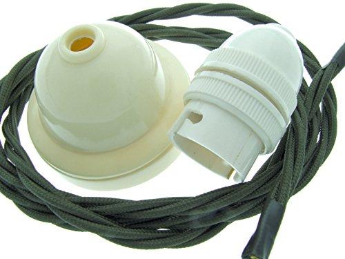Kit de suspension art déco en ivoire avec fil torsadé Vert kaki