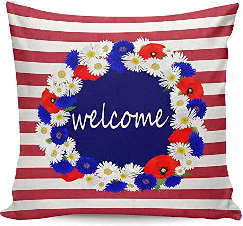 Fundas de almohada con corona de flores rojas y azules con tema del Día de la Independencia,18 x 18 pulgadas,funda de almohada cuadrada,suave y moderna funda de almohada para sofá para decoración del