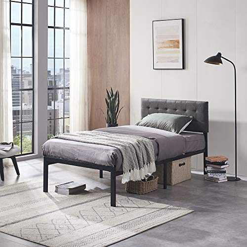 Vanergy Twin Bed Frame, Platform Bed Frame with Strong Metal Slats and Upholstered Tufted Square Stitch Headboard, Mattress Foundation, No Box Spring Needed, Easy Assembly, (Grey, Twin)