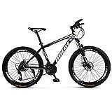 KUKU Bicicleta De Montaña De Acero con Alto Contenido De Carbono De 26 Pulgadas, Bicicleta De Montaña para Hombres De 24 Velocidades, Adecuada para Entusiastas del Deporte Y El Ciclismo,Negro
