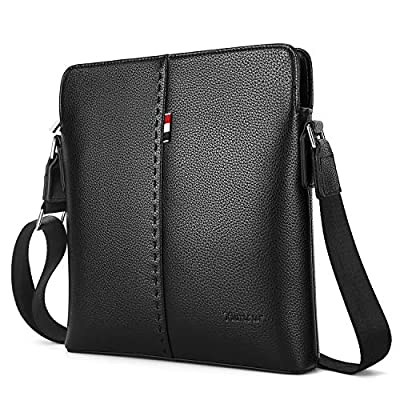 YumSur Sac à Bandoulière Sacoche Homme, IPAD Sac Bandoulière en Cuir Souple Véritable Business Élégant Besaces Grand Sac à dos Sac de Messager Sangle Réglable,Noir