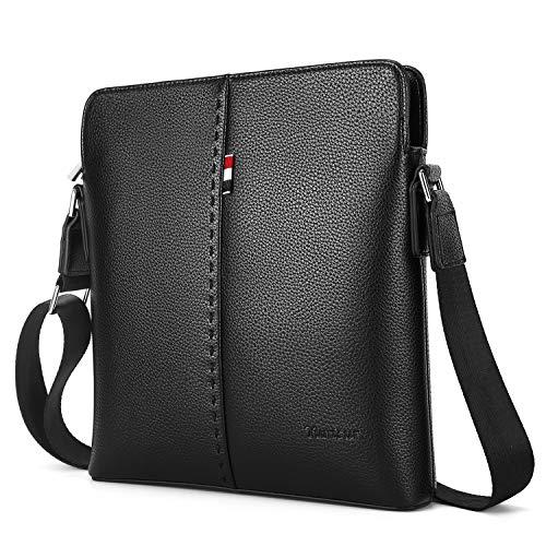 YumSur Bolso bandolera de piel auténtica para hombre, bolso de negocios Cuero Bolso Bandolera Messenger Bolsa maletín portátil,Negro