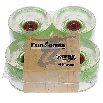 FunTomia 4 Stück (LED) Longboard/Skateboard Rollen (Big Wheels) in 70x51mm 80A inkl. Mach1® Kugellager und Magnet Spacer 80A Rollenhärte