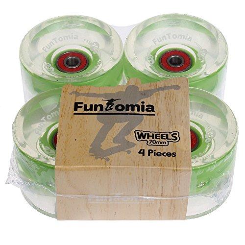 FunTomia 4 Stück (LED) Longboard/Skateboard Rollen (Big Wheels) in 70x51mm 80A inkl. Mach1® Kugellager und Metall Spacer 80A Rollenhärte