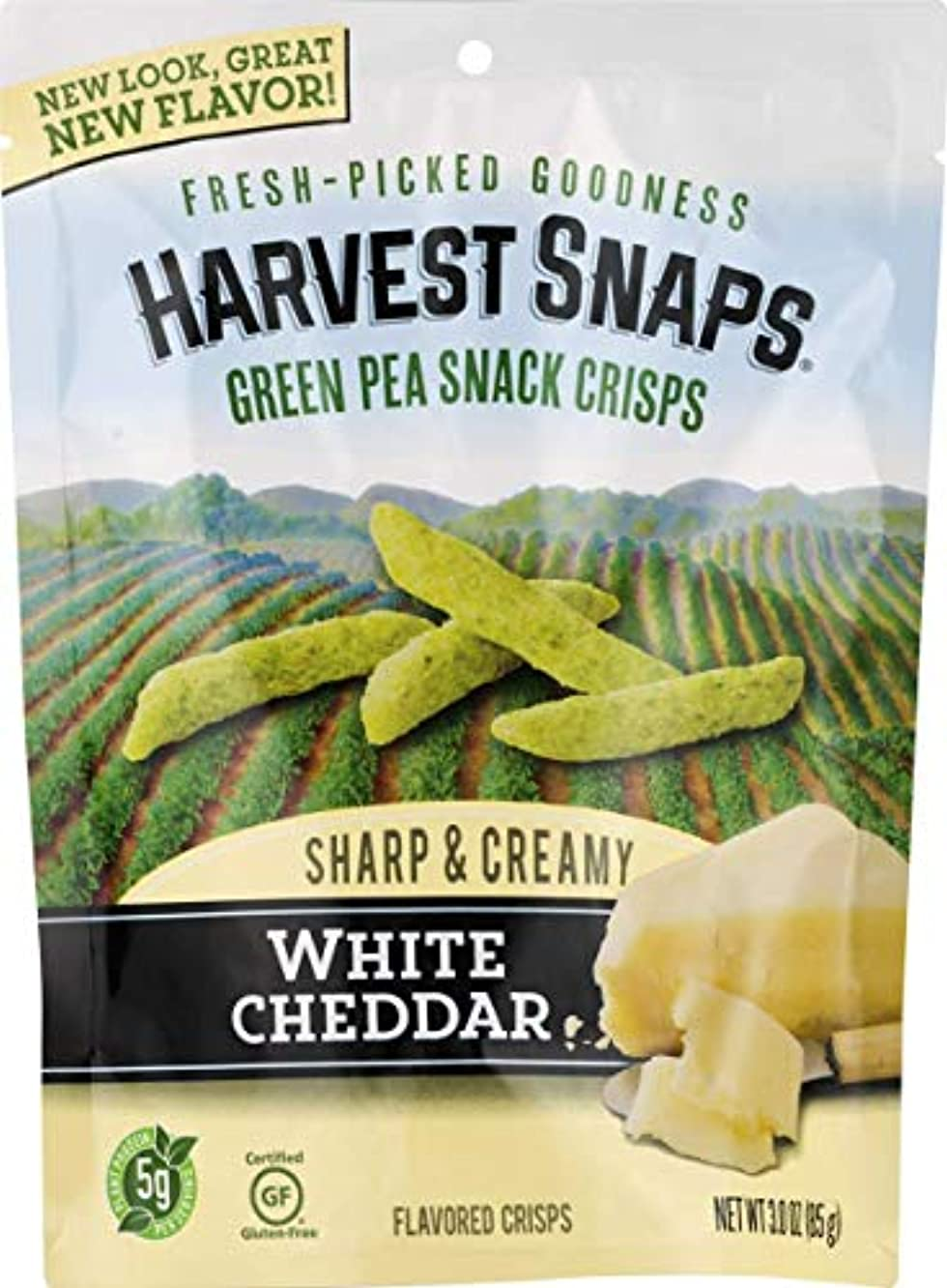 Harvest Snaps Green Pea Snack Crisps, White Cheddar, Deliciously baked and crunchy veggie snacks with plant protein and fiber, 3-Ounce Bag (Pack of 12)