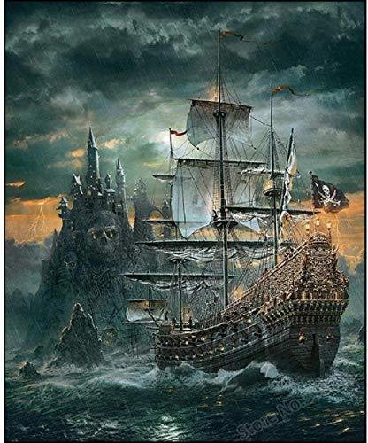 HZDXT Rompecabezas de Barcos Piratas Rompecabezas de Madera de 1000 Piezas Rompecabezas de Juguetes de Rompecabezas Rompecabezas para Adultos Imagen/Cráneo del Castillo